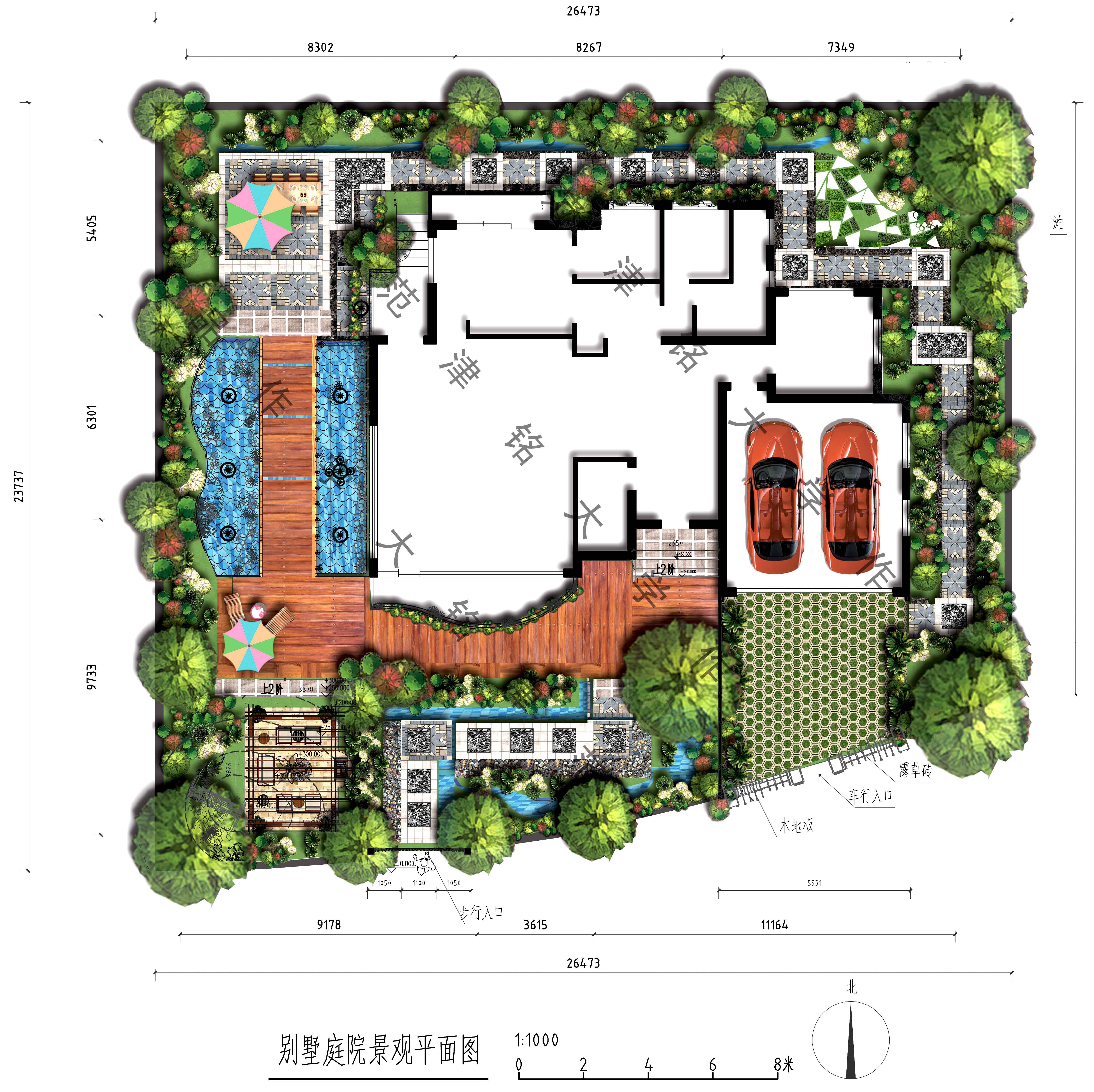 别墅花园设计平面图-小型独栋别墅花园设计/别墅园林设计方案/别墅