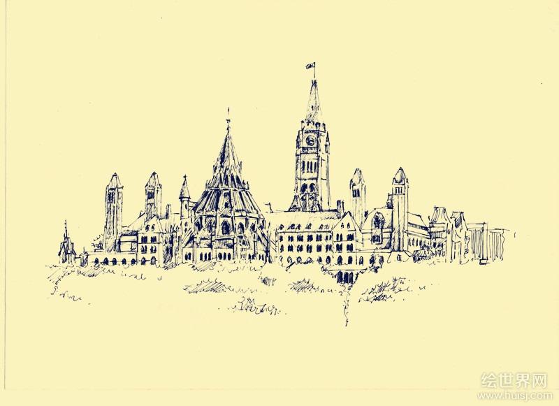 世界著名建筑钢笔画