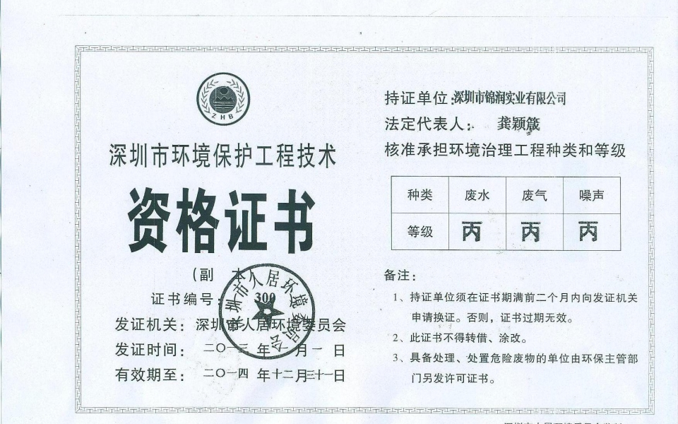 环境资格证书